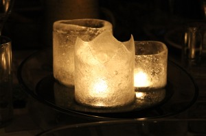 Three ice candles, made using plastic bottles!