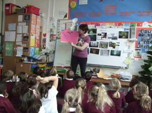 Me sharing some of the cover design ideas from the Y1 kids