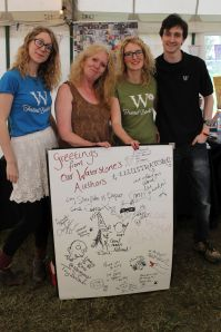 The fab Waterstones team, led by Barbara (second from left) and their author/illustrator signing board. Can you see what animal I drew on it?!
