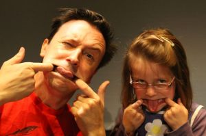 Steve and Jemima, pulling the particular silly face Jemima selected
