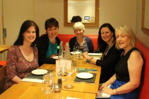 At dinner: Amy Butler Greenfield, me, Juliet Marillier, Kate Forsyth, Katherine Langrish