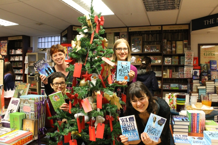 Me, Susie, Robin and Sally, pretending to be baubles...with books