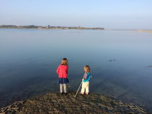 Using the crazy golf clubs to make ripples in the water