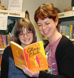 Phoebe and I look at her exclusive copy of Glee Club - two weeks before publication date