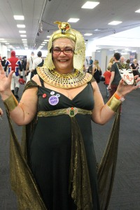 Look, it's Cleopatra! Otherwise known as Lucy Coats, bigging up her brand new book CLEO