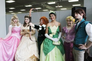 Five Disney Princesses and Flynn Rider turned up too