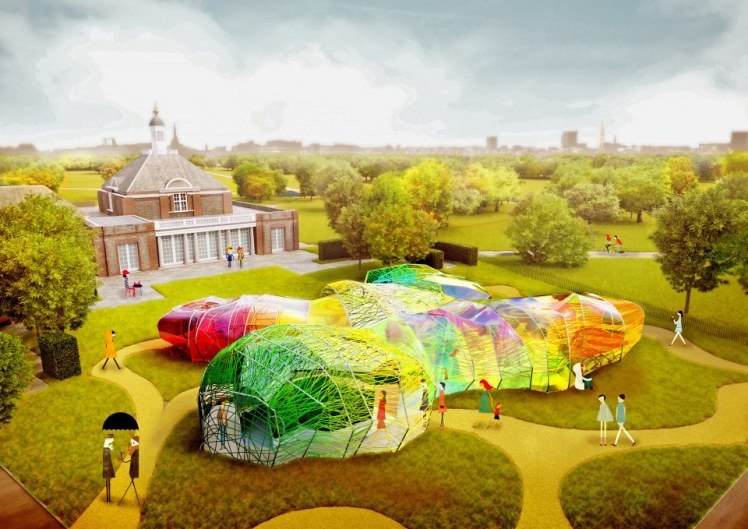 The 2015 Serpentine Pavilion. CGI version (spot the people!) but the real thing does look exactly like this