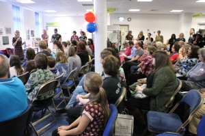 The audience listens to Paula explain how the afternoon will work - there was no room for the authors to sit down, LOL!