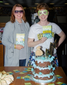 Cathy Brett and me - and the cake! Three tiers of chocolate sponge with electric blue icing and flashing LEDs...