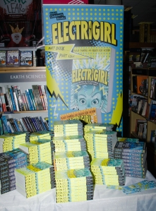 Huuuuge pile of Electrigirl books - and our awesome banner, supplied by the lovely people at OUP!
