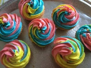 Rainbow cupcakes for Blackwells launch