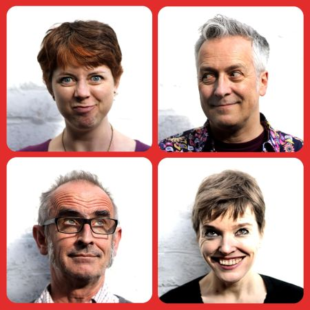 The members of First Draft: clockwise from top left me, John Dougherty, Helen Stickland, Paul Stickland - we have a song for every bookish occasion!
