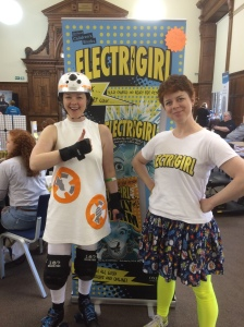 Author pal Susie Day attended in cosplay - as BB8 from Star Wars: The Force Awakens! Complete with roller skates! The effort was rewarded as she was declared a prize-winner in the cosplaying competition!