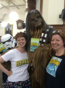 And Cathy and I couldn't pass up the opportunity for our own photo with Chewie and the photobombing stormtrooper!