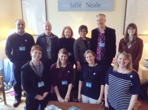 Back row, L-R: Bali Rai, Adam Guillain, Charlotte Guillain, Candy Gourlay, John Dougherty, Pheebs (junior reporter), Front row, L-R: me, Tamsyn Murray, Cas Lester, Milly (schools' liaison for the festival). We were also joined by SF Said, who arrived just thirty seconds too late for this photo!