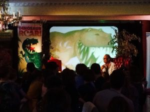 To start, Paul showed the fascinated audience his artwork for DINOSAUR ROAR! - look out, Paul, he's behind you!