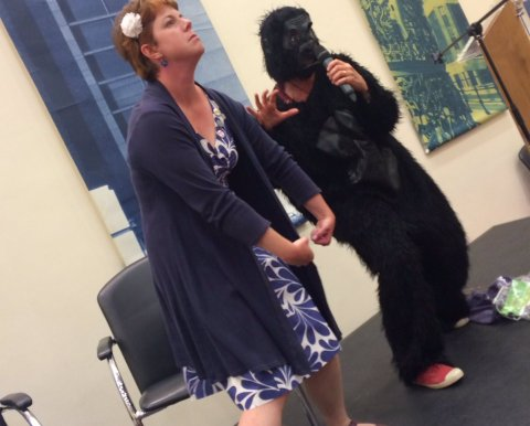I helped Gill Lewis with her demonstration of gorilla behaviour...