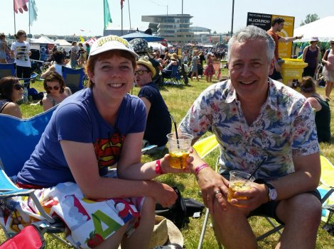 Drinking Pimms with John Dougherty before our band gig, in the glorious sunshine! (thanks to Philip Ardagh for photo)