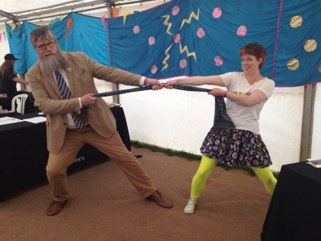 Me in my Electrigirl kit messing around with author Philip Ardagh (thanks for the photo, Philip!)