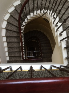 The staircase at the Roxburghe Hotel, where I stayed in luxury in Edinburgh - but the view from the 3rd floor did make me VERY wobbly!