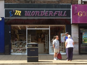 On part of my journey home from Edinburgh, I waited at a bus stop opposite this shop that clearly has an ego problem