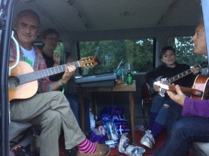 Rehearsing in Paul Stickland's van
