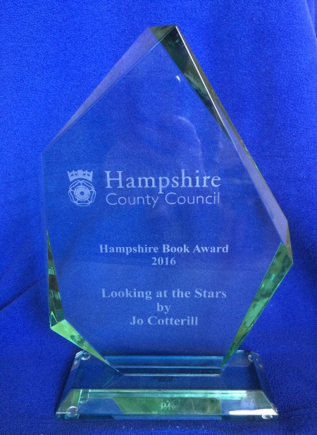 My amazing award, which is BIG and HEAVY and very difficult to photograph! I love it!