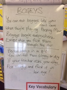 A class from another school wrote about bogeys...! (Don't ask me what Pooping Mare was)