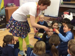 A workshop with Y2 - storytelling with my magic box full of objects to help us tell the story